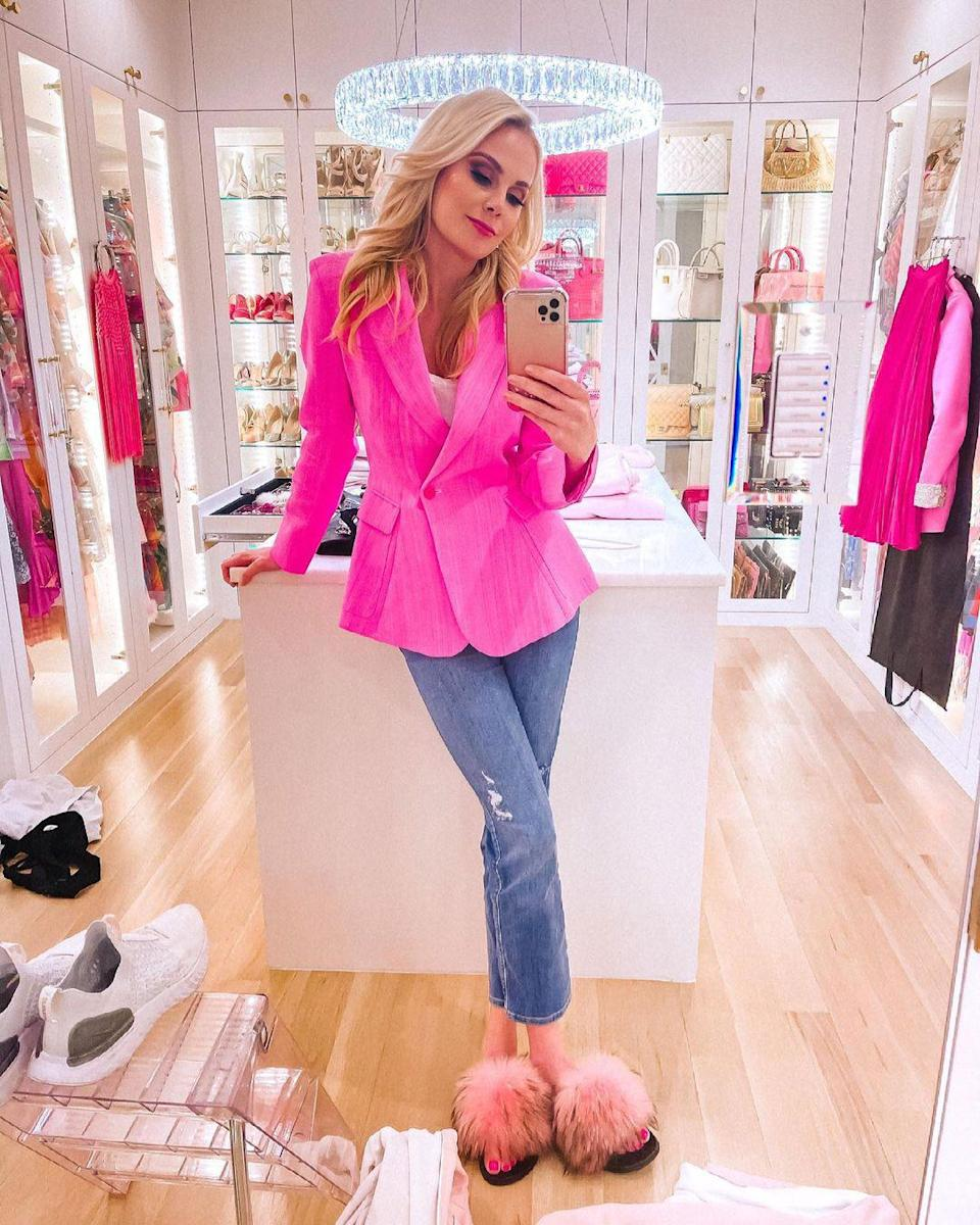 """<p>There's no such thing as too much pink — just ask this <em>Real Housewives of Dallas</em> star, who snapped a pic in her colorful closet! """"Blazin' in PINK!!"""" <a href=""""https://www.instagram.com/p/CNTlI_YgWdA/"""" rel=""""nofollow noopener"""" target=""""_blank"""" data-ylk=""""slk:she wrote"""" class=""""link rapid-noclick-resp"""">she wrote</a>.</p>"""
