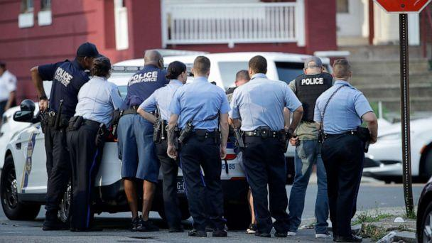 PHOTO: Philadelphia police stage as they respond to an active shooting situation, Aug. 14, 2019, in the Nicetown neighborhood of Philadelphia. (Matt Rourke/AP)