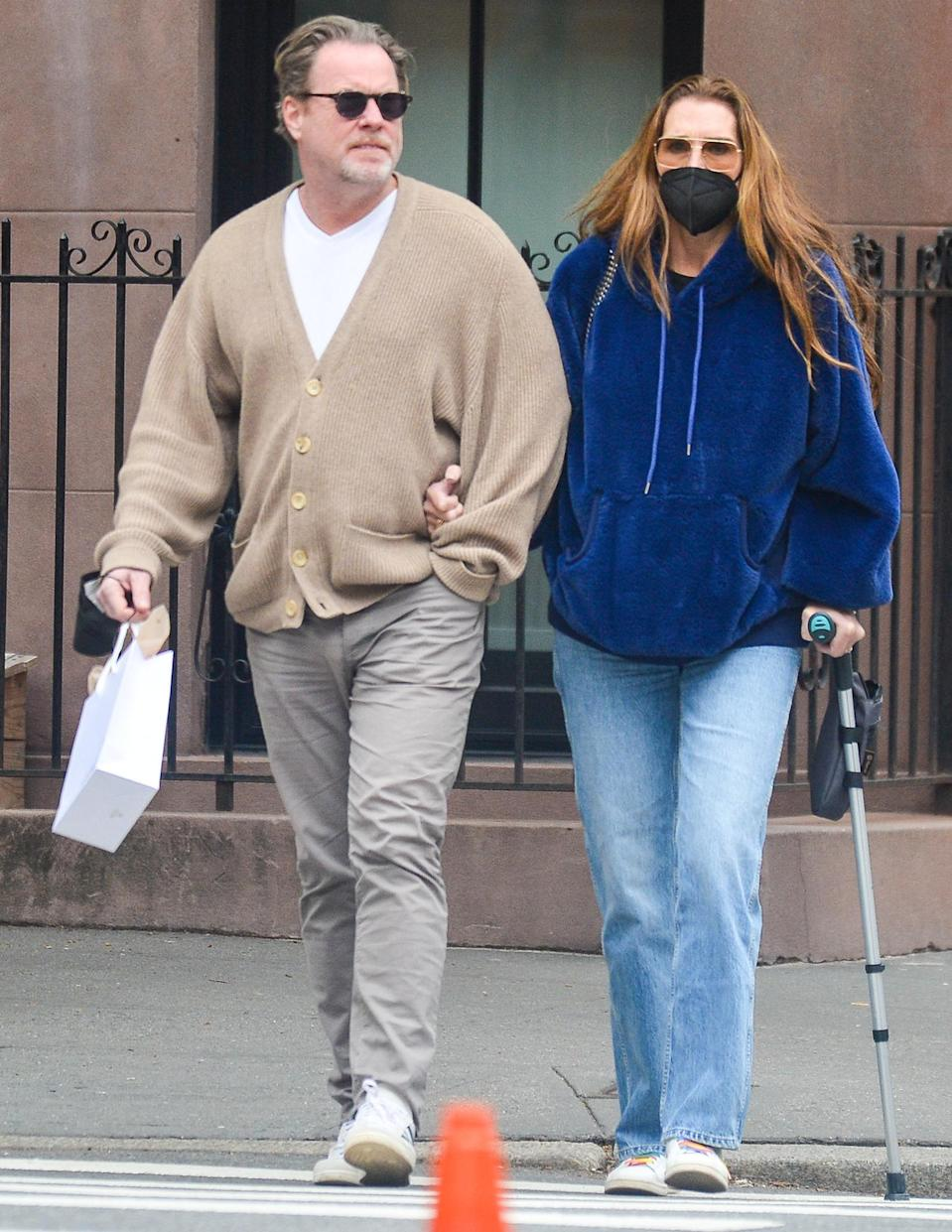 <p>Brooke Shields and husband Chris Henchy are spotted out and about after grabbing lunch together in N.Y.C. on Sunday. </p>