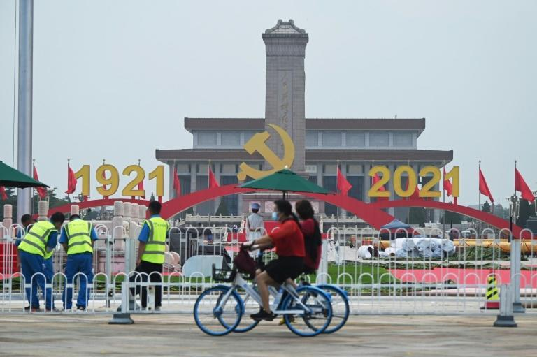 Decorations in Tiananmen Square celebrate the party's centenary