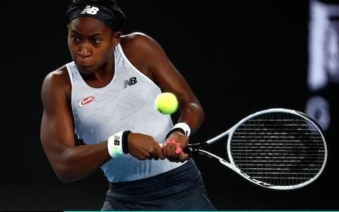 Coco Gauff of the United States of America plays a backhand - Credit: getty