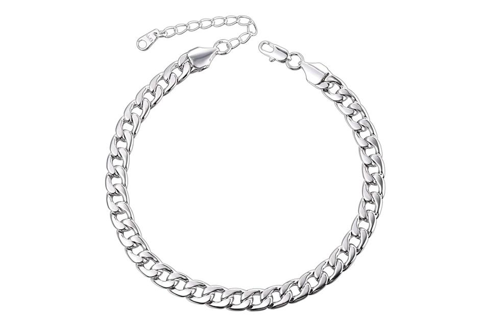 anklet, silver, chain