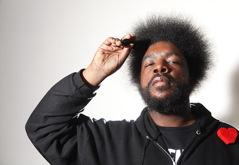 FILE - In this Dec. 8, 2011 file photo, musician Questlove from the band The Roots, poses for a portrait in New York. The Roots has released 14 albums, most to critical acclaim, but only two have managed to crack gold status. Though bandleader Questlove might have enjoyed the money that comes along with multiplatinum records, he wouldn't trade the group's rarified position in the music world for it. (AP Photo/Carlo Allegri, file)