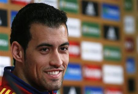 Spain's national soccer player Busquets attends a news conference ahead of the Euro 2012 in Gniewino