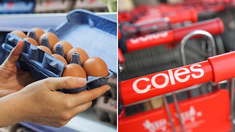 A person holding a packet of eggs (right) and a Coles trolley (left)