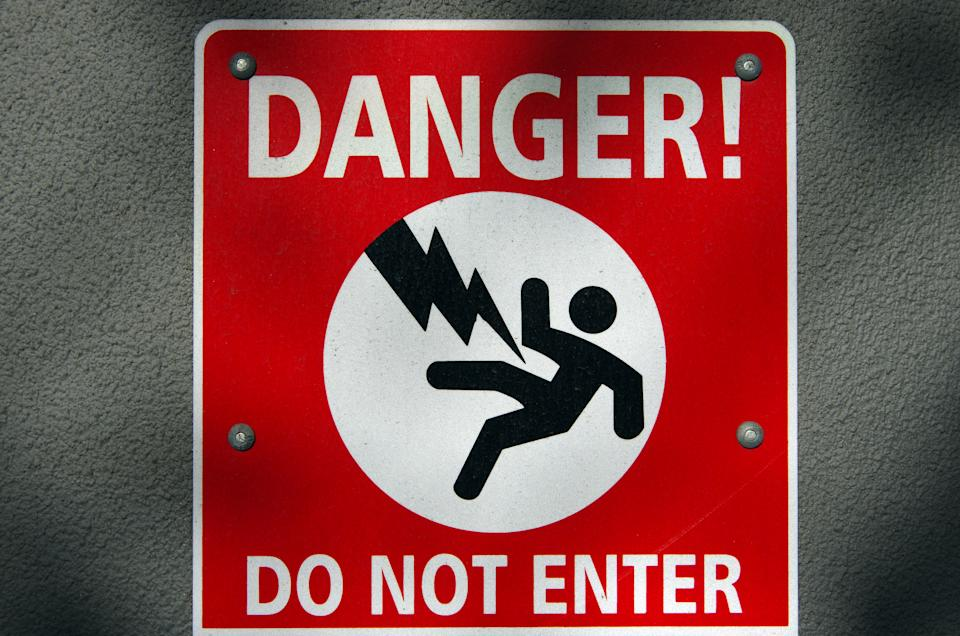 """Pictured: Warning sign saying """"DANGER DO NOT ENTER"""". Image: Getty"""