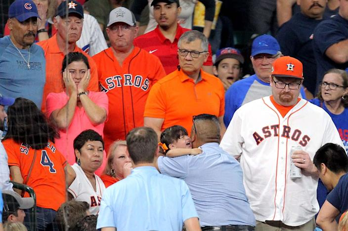A foul ball off the bat of Cubs outfielder Albert Almora created an awful scene at Minute Maid Park. (Erik Williams-USA TODAY Sports)