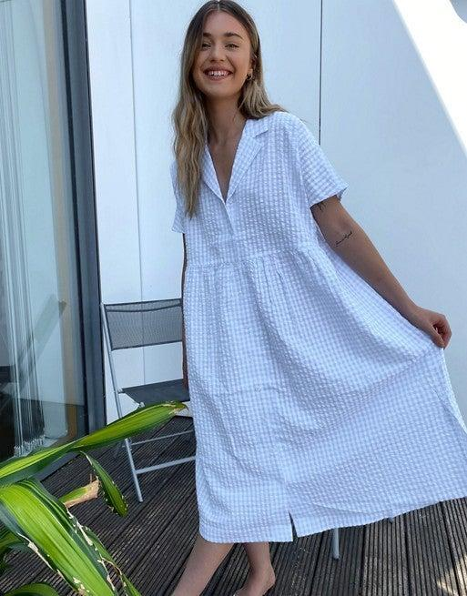 "<br> <br> <strong>Monki</strong> Light Blue Gingham Print Oversizes Dress, $, available at <a href=""https://go.skimresources.com/?id=30283X879131&url=https%3A%2F%2Fwww.asos.com%2Fus%2Fmonki%2Fmonki-ulrica-gingham-print-oversize-dress-in-blue%2Fprd%2F20619850%3F"" rel=""nofollow noopener"" target=""_blank"" data-ylk=""slk:ASOS"" class=""link rapid-noclick-resp"">ASOS</a>"