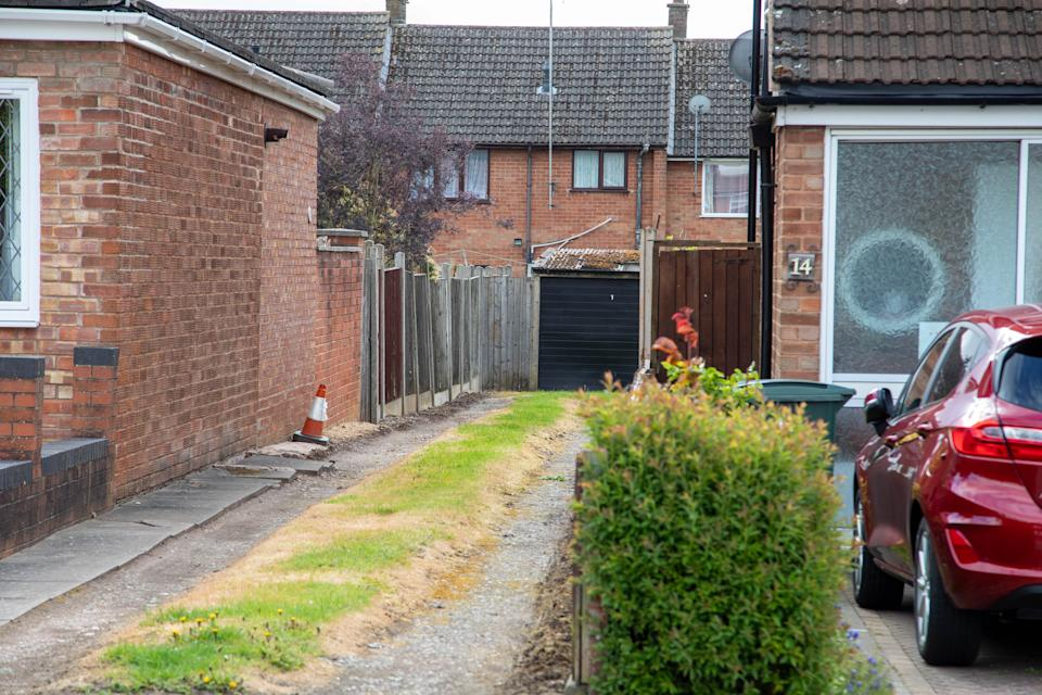 A wall the Palmers built to replace a fence alongside an entry between the two properties. Michelle Palmer's home (L) and Michael and Lynda Goodenough's home (R), on Despard Road, Eastern Green, Coventry.  See SWNS story SWMDrage  A long-running neighbours' dispute ended in violence when a pensioner Michael Goodenough deliberately reversed his car at the woman next-door Michelle Palmer – only to run over his own wife Lynda Goodenough.   And after Michael Goodenough's 'display of small-minded petulance' left his wife with a crush fracture to her spine, he stormed off, leaving his neighbours to care for her.  Goodenough (73) of Despard Road, Eastern Green, Coventry, was jailed for 15 months after pleading guilty at Warwick Crown Court to inflicting grievous bodily harm.  Things turned sour around 27 years ago over a wall the Palmers built to replace a fence alongside an entry between the two properties.