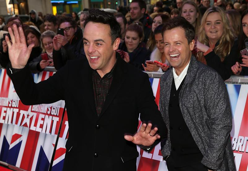 LONDON, ENGLAND - JANUARY 22: Anthony McPartlin and Declan Donnelly arrives for Britain's Got Talent Auditions on January 22, 2016 in London, England. (Photo by Danny Martindale/FilmMagic)