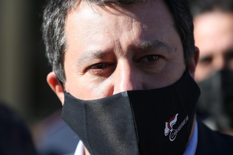 NAPLES, ITALY - 2021/03/15: The leader of the league's political party, Matteo Salvini, with a mask to protect himself from the Covid-19 coronavirus, at the Naples court after the first hearing of the trial that sees him involved as a plaintiff of a Neapolitan musical group, the 99 Posse, who are alleged to have offended him in a video. (Photo by Marco Cantile/LightRocket via Getty Images) (Photo: Marco Cantile via LightRocket via Getty Images)