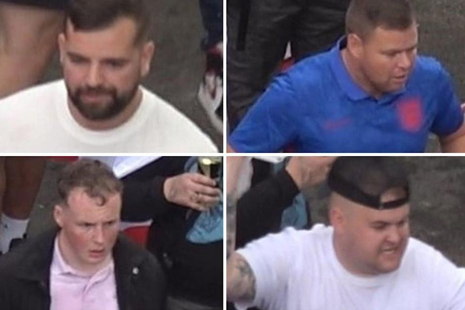 Four of the men sought in connection to disorder at Wembley. Their images were released by police tonight (PA)