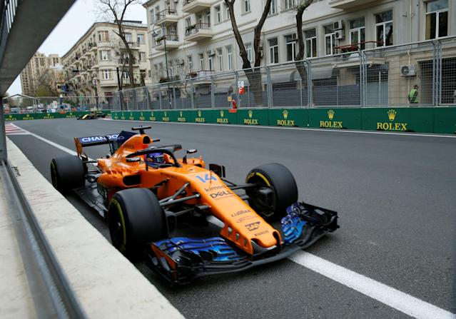 Formula One - F1 - Azerbaijan Grand Prix - Baku City Circuit, Baku, Azerbaijan - April 29, 2018 McLaren's Fernando Alonso in action during the race REUTERS/David Mdzinarishvili
