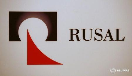 The company logo of United Company RUSAL is displayed during a news conference in Hong Kong