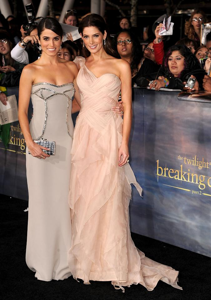 """Nikki Reed and Ashley Greene arrive at """"The Twilight Saga: Breaking Dawn - Part 2"""" Los Angeles premiere at Nokia Theatre L.A. Live on November 12, 2012 in Los Angeles, California.  (Photo by Steve Granitz/WireImage)"""
