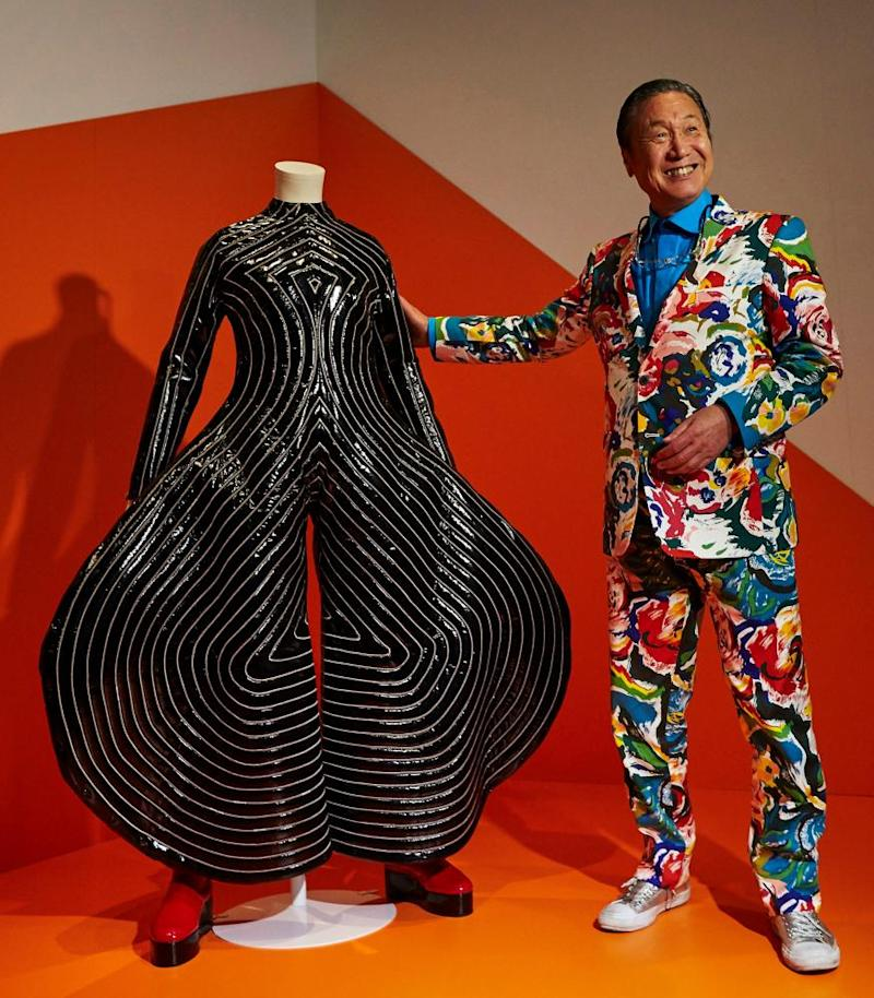 Yamamoto with one of Bowie's costumes from 1973.