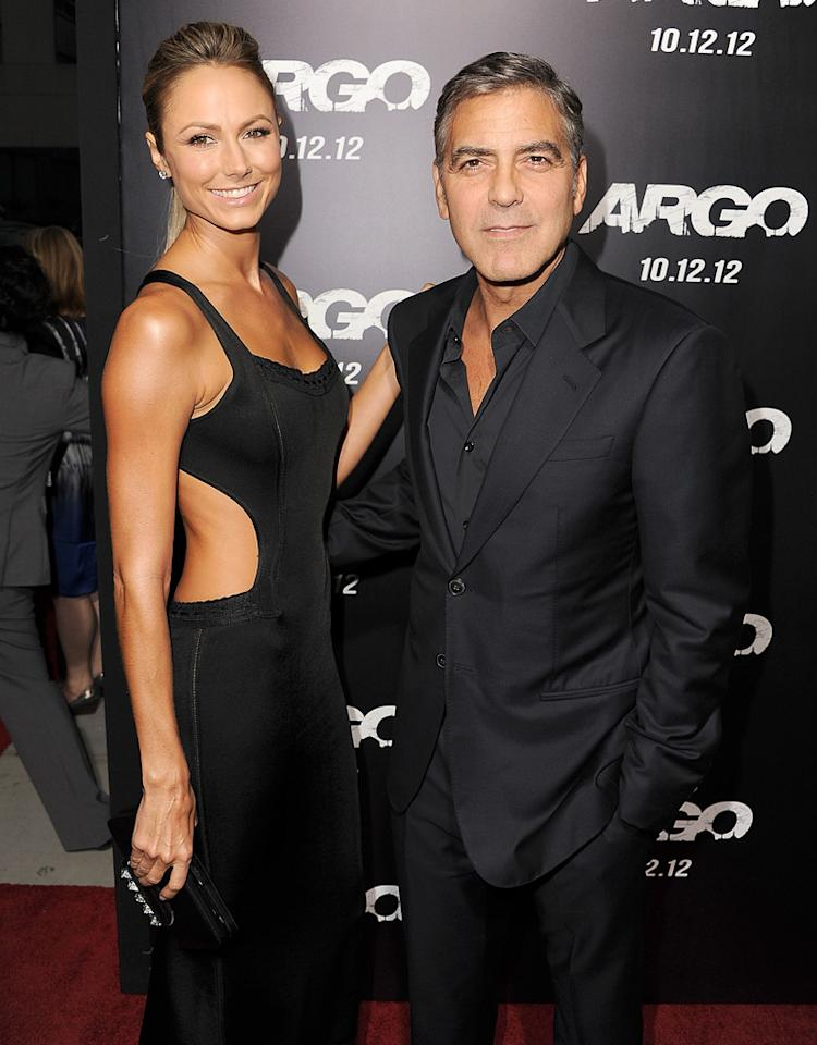 "BEVERLY HILLS, CA - OCTOBER 04:  Stacy Keibler and George Clooney arrives at the ""Argo"" - Los Angeles Premiere at AMPAS Samuel Goldwyn Theater on October 4, 2012 in Beverly Hills, California.  (Photo by Steve Granitz/WireImage)"