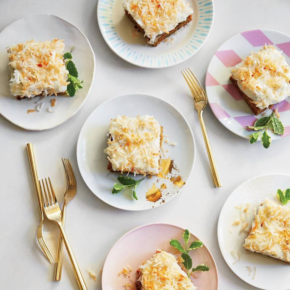 "<p>Zucchini makes a brilliant addition to carrot cake, adding a verdant note to the sweet carrot.</p> <p><a href=""https://www.myrecipes.com/recipe/carrot-zucchini-cake-coconut-cream-cheese-frosting"">Carrot-Zucchini Cake with Coconut-Cream Cheese Frosting Recipe</a></p>"