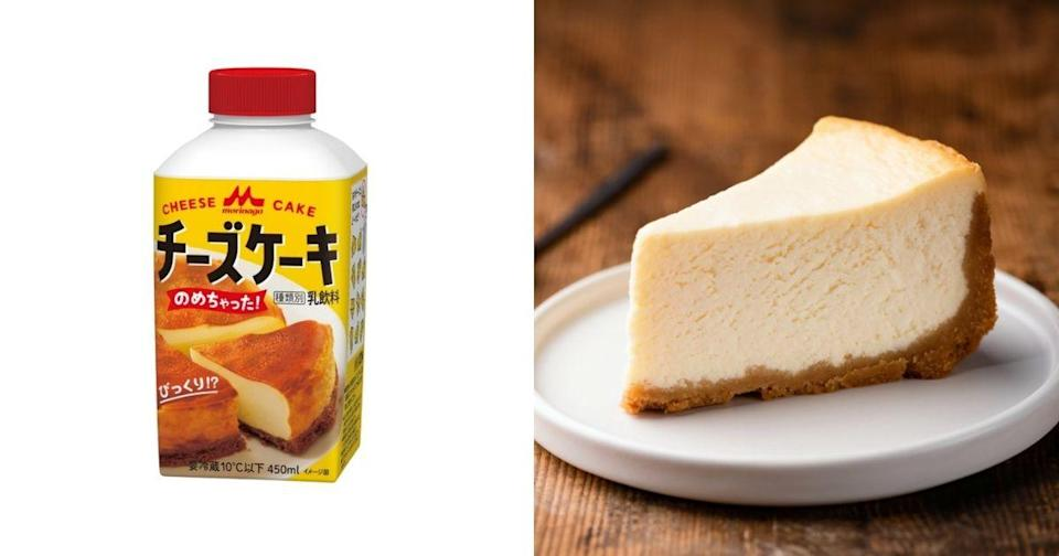 """<p>The photo collage shows cheesecake and """"drinkable cheesecake."""" (Courtesy of MORINAGA/Shutterstock)</p>"""