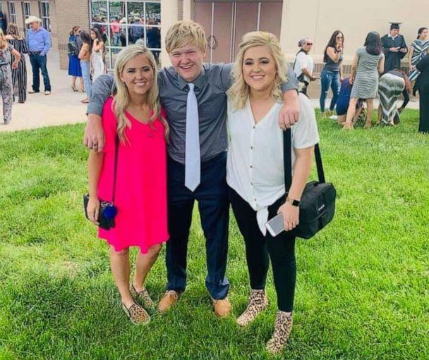 PHOTO: Braxton Moral, 17, of Ulysses, Kansas, is seen with his sisters, Brittney Jo Seger and Brandi Zamarripa, on the day he graduated from Ulysses High School on May 19. (Courtesy Brittney Jo Seger )