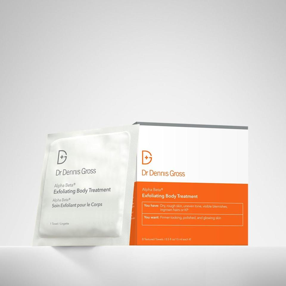 <p>If you're a fan of Dr. Dennis Gross's original daily exfoliating treatment peel (like many of us are) then you'll be excited to learn that the brand recently launched <span>Alpha Beta Exfoliating Body Treatment Peel</span> ($58). The glycolic acid, lactic acid, and salicylic acid pads help with ingrown hairs, KP, dry skin, and uneven texture.</p>