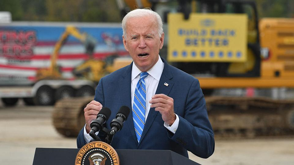 President Joe Biden speaks about the bipartisan infrastructure bill and his Build Back Better agenda at the International Union of Operating Engineers Training Facility in Howell, Michigan, on October 5, 2021. - Biden visits Howell to speak about his infrastructure bill and Build Back Better agenda. (Nicholas Kamm/AFP via Getty Images)