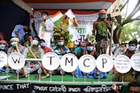 Students of Trinamool Congress (TMC) party take part in a rally to protests against the new agriculture bills passed by the central government at Parliament in Kolkata, India on 23rd September, 2020. (Photo by Sonali Pal Chaudhury/NurPhoto via Getty Images)
