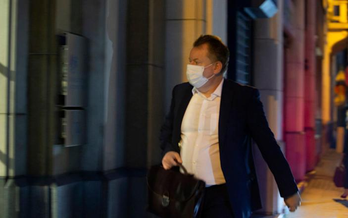 The UK's chief negotiator, David Frost, in Brussels on Wednesday night - AP