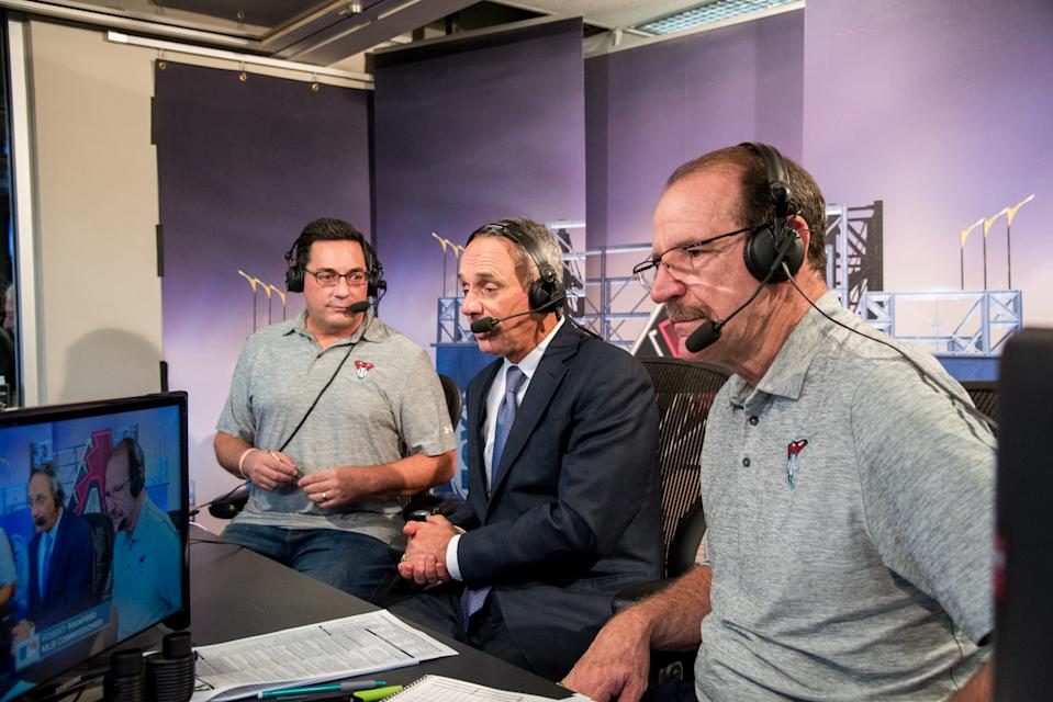 PHOENIX, AZ - JUNE 06: MLB Commissioner Rob Manfred makes an appearance on FOX Sports Arizona's TV broadcast with Steve Berthiaume and Bob Brenly during a game against the Arizona Diamondbacks and San Diego Padres at Chase Field on June 6, 2017 in Phoenix, Arizona. (Photo by Sarah Sachs/Arizona Diamondbacks/Getty Images)
