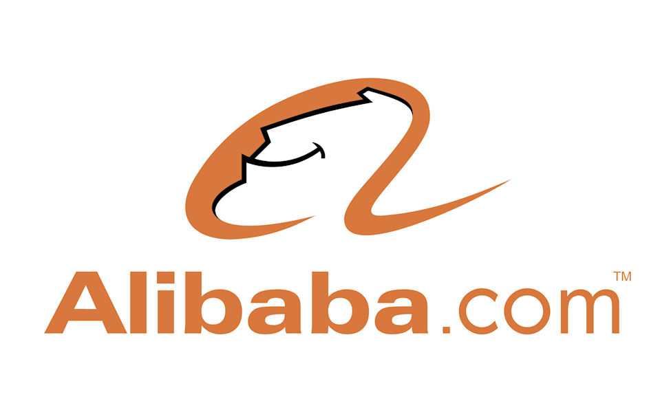 Alibaba's corporate logo, featuring a smiling genie.