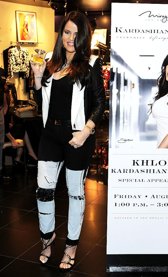 Perhaps Khloe Kardashian was attempting to keep with the chaos theme of the Kardashian Khaos store in Las Vegas when she dressed for an appearance there this week. The black and white ensemble she donned for an event to promote her perfume Unbreakable proved that she might need some help organizing her closet. (8/24/2012)