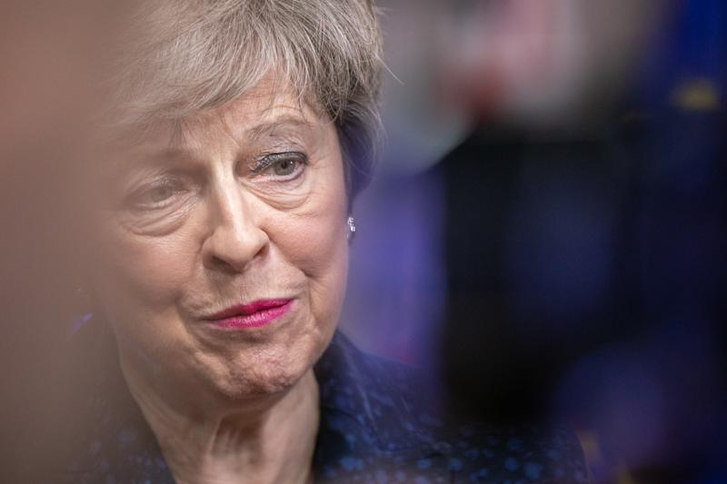 BRUSSELS, BELGIUM - FEBRUARY 07: Theresa May, Prime Minister of the United Kingdom talks to the press about Brexit strategy in the European Council Building on February 7, 2019 in Brussels, Belgium. (Photo by Olivier Matthys/Getty Images)