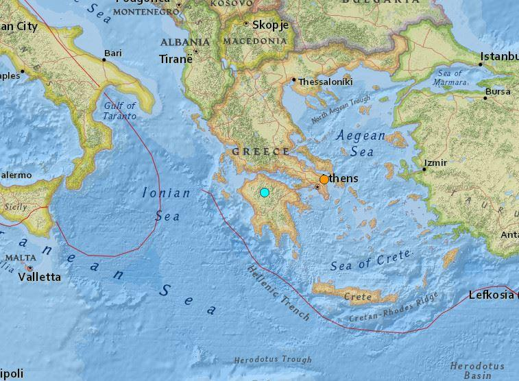Map showing the location of two earthquakes that hit Greece on Monday: USGS