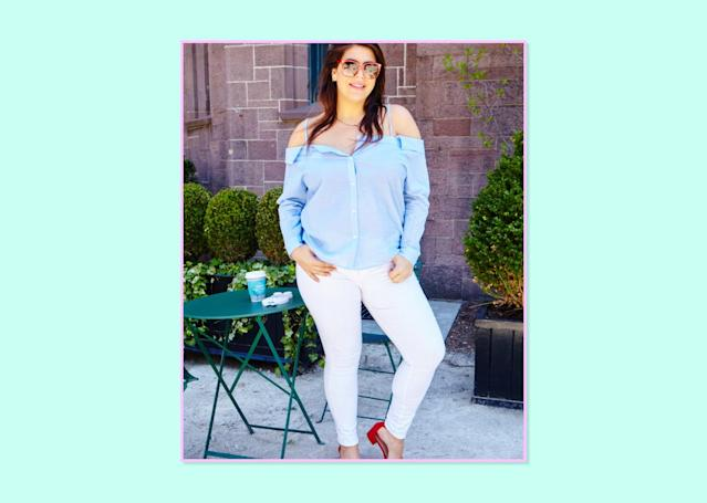 """<p><strong>Katie Sturino, <a href=""""http://www.the12ishstyle.com"""" rel=""""nofollow noopener"""" target=""""_blank"""" data-ylk=""""slk:The 12ish"""" class=""""link rapid-noclick-resp"""">The 12ish</a></strong><br> Jeans have always been really tough for me because of my straight frame but NYDJ saved me for the most part. When Good American launched, I did a little dance knowing that I was getting more options! For white jeans…they are my go-to brand. The jeans have stretch, which is really hard to find in white jeans! For any other color I shop NYDJ and have for years. They are literally the only reason I have been wearing pants since college.<br>Good American Good Legs High Rise Ripped Skinny, $179, <a href=""""http://shop.nordstrom.com/s/good-american-good-legs-high-rise-ripped-skinny-jeans/4500239?origin=category-personalizedsort&fashioncolor=WHITE%20002"""" rel=""""nofollow noopener"""" target=""""_blank"""" data-ylk=""""slk:Nordstrom"""" class=""""link rapid-noclick-resp"""">Nordstrom</a> </p>"""
