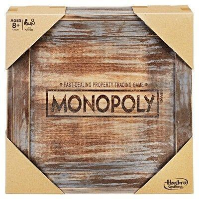 "<p><strong>Monopoly</strong></p><p>target.com</p><p><strong>$39.99</strong></p><p><a href=""https://www.target.com/p/monopoly-rustic-series-board-game/-/A-52118130"" rel=""nofollow noopener"" target=""_blank"" data-ylk=""slk:Shop Now"" class=""link rapid-noclick-resp"">Shop Now</a></p><p>Your favorite childhood game gets a rustic update with a wooden box set and brass game pieces.</p>"