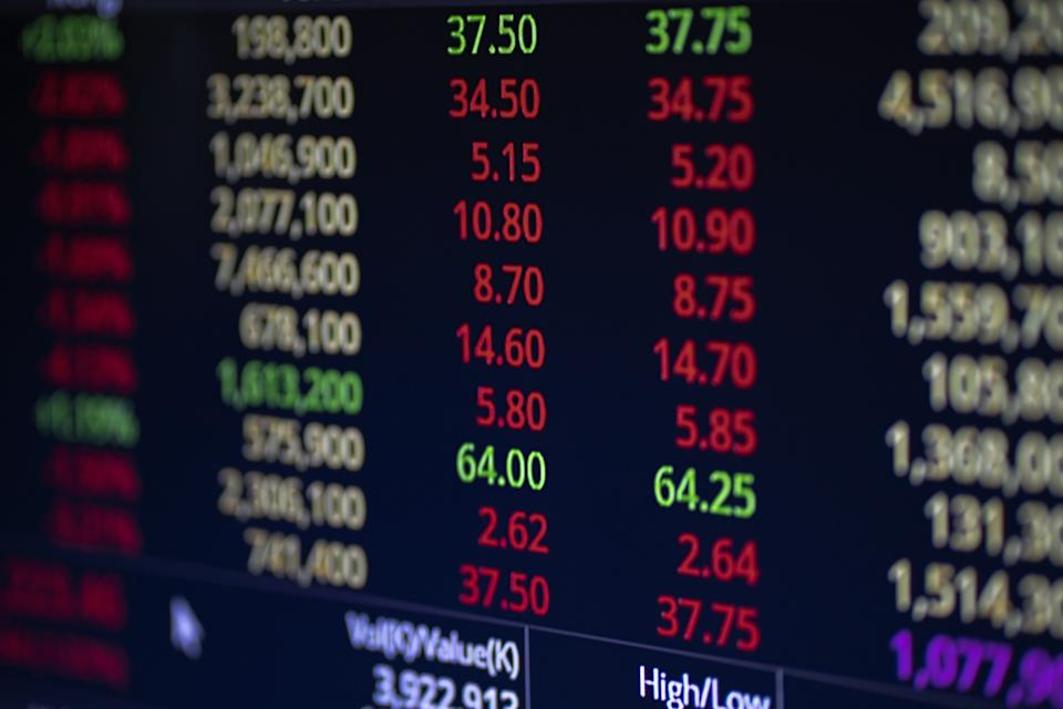 Stock market business graph chart on digital screen. Success and loss money concept. Trading screen board.