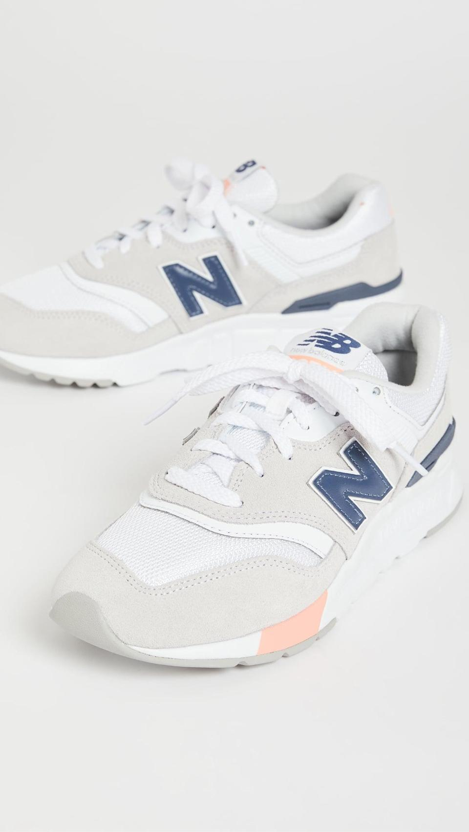 """<p><span>New Balance 997 Classic Sneakers</span> ($90)</p> <p>""""I have a new found love for New Balance sneakers and my pair from last year is totally worn out, so now I have my eye on the 997 sneakers. The cute pink and navy details makes them feel different and fresh. They're perfect to wear with jeans and tee and I know they'll always look cool."""" - Krista Jones, associate editor, Shop</p>"""