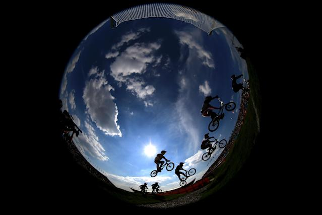 LONDON, ENGLAND - AUGUST 09: The field clear a jump during the Men's BMX Cycling Quarter Finals on Day 13 of the London 2012 Olympic Games at BMX Track on August 9, 2012 in London, England. (Photo by Phil Walter/Getty Images)