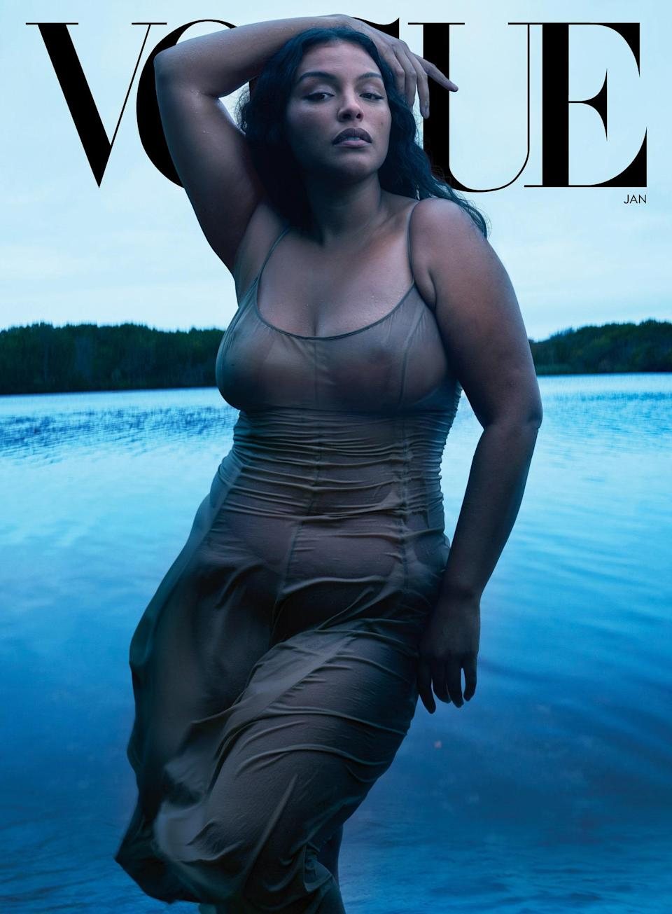 The cover of US Vogue January 2021 with Paloma Elsesser