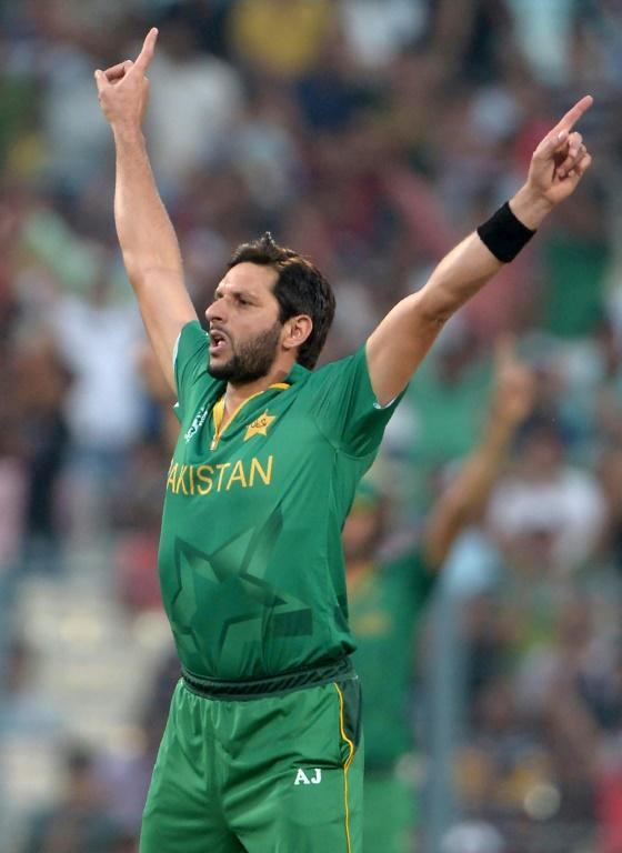 Former Pakistan captain Shahid Afridi was famous for his celebration after taking a wicket (AFP Photo/Dibyangshu SARKAR)