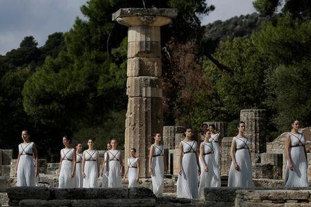 Olympics - Dress Rehearsal - Lighting Ceremony of the Olympic Flame Pyeongchang 2018 - Ancient Olympia, Olympia, Greece - October 23, 2017 Actresses during the dress rehearsal for the Olympic flame lighting ceremony for the Pyeongchang 2018 Winter Olympic Games at the site of ancient Olympia in Greece REUTERS/Alkis Konstantinidis