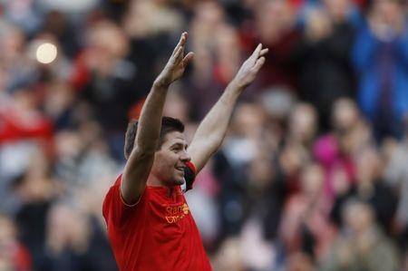Britain Football Soccer - Liverpool Legends v Real Madrid Legends - Anfield - 25/3/17 Liverpool's Steven Gerrard celebrates scoring their fourth goal  Action Images via Reuters / Carl Recine Livepic/File Photo