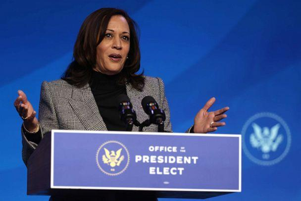 PHOTO: U.S. Vice President-elect Kamala Harris speaks during an announcement January 16, 2021 at the Queen theater in Wilmington, Delaware. President-elect Joe Biden has announced key members of his incoming White House science team. (Alex Wong/Getty Images)