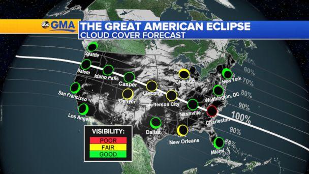 Total Solar Eclipse Weather Forecast For Path Of Totality - Us weather map 2 25 2017