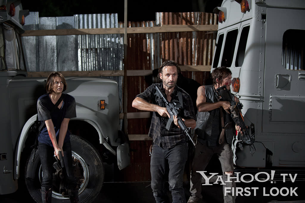 "Maggie Greene (Lauren Cohan), Rick Grimes (Andrew Lincoln) and Daryl Dixon (Norman Reedus) in ""The Walking Dead"" Season 3 episode ""The Suicide King."""