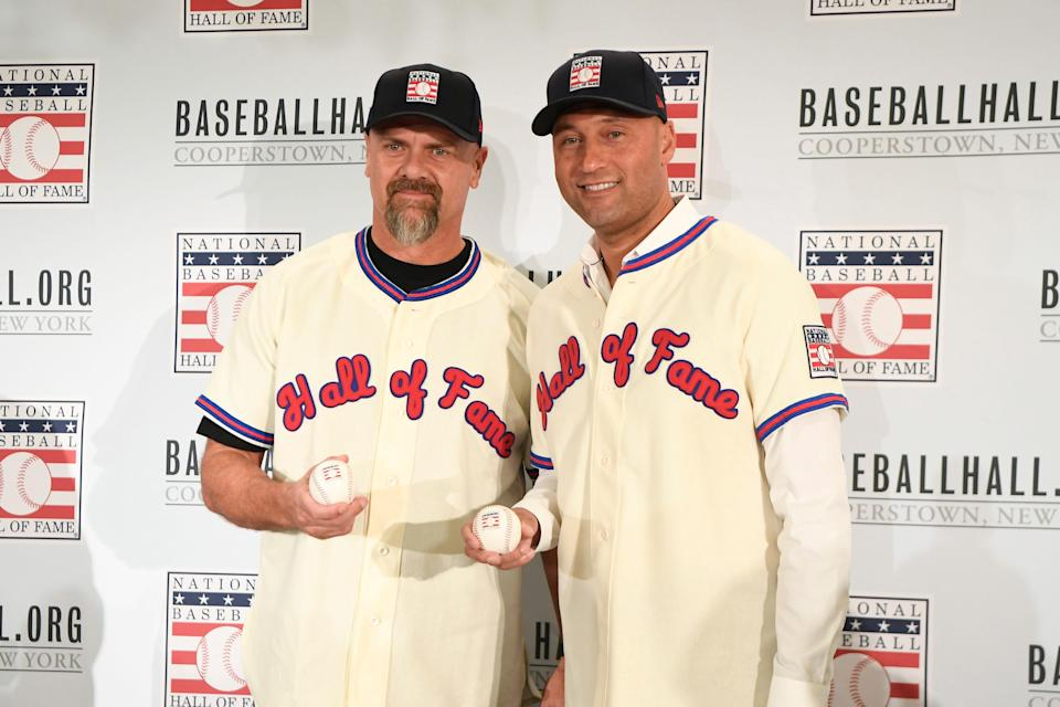Larry Walker, left and Derek Jeter are scheduled to be inducted into the Hall of Fame on Wednesday.