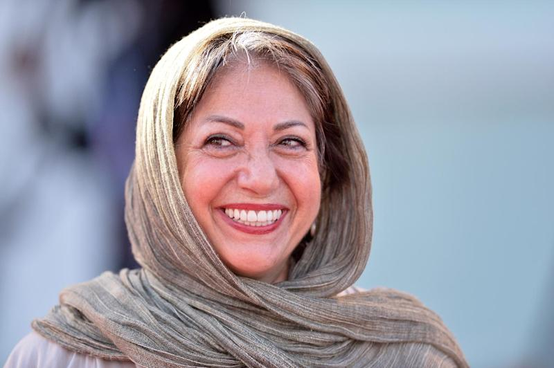 """Iranian director Rakhshan Bani-Etemad arrives for the screening of her movie """"Ghessea"""", or """"Tales"""", presented in competition at the 71st Venice Film Festival on August 28, 2014 at Venice Lido"""