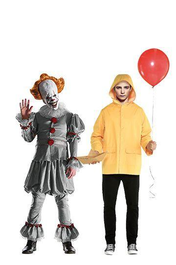 """<p>If you want to terrorize your friends and have some fun with makeup, go as Pennywise, the evil, child-eating clown, and his first victim, Georgie. You can find a few horrifying Pennywise makeup tutorials <a href=""""https://www.youtube.com/watch?v=AjtGJL8BDR0"""" rel=""""nofollow noopener"""" target=""""_blank"""" data-ylk=""""slk:on YouTube"""" class=""""link rapid-noclick-resp"""">on YouTube</a> — and don't forget to pick up a red helium balloon.</p><p><a class=""""link rapid-noclick-resp"""" href=""""https://www.amazon.com/Rubies-Costume-Co-Standard-Pennywise/dp/B074N8NFY9/?tag=syn-yahoo-20&ascsubtag=%5Bartid%7C10070.g.28669645%5Bsrc%7Cyahoo-us"""" rel=""""nofollow noopener"""" target=""""_blank"""" data-ylk=""""slk:Shop Pennywise Costume"""">Shop Pennywise Costume</a></p><p><a class=""""link rapid-noclick-resp"""" href=""""https://www.amazon.com/SUIT-YOURSELF-Georgie-Standard-Raincoat/dp/B07QY45PYL?tag=syn-yahoo-20&ascsubtag=%5Bartid%7C10070.g.28669645%5Bsrc%7Cyahoo-us"""" rel=""""nofollow noopener"""" target=""""_blank"""" data-ylk=""""slk:Shop Georgie Costume"""">Shop Georgie Costume</a> </p>"""