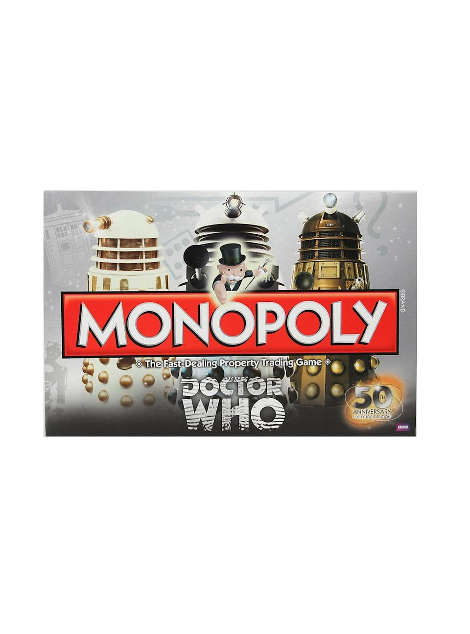 <p>Combine the best of both worlds with this <strong>Doctor Who</strong>-themed <span>Monopoly board game</span> ($29). </p>