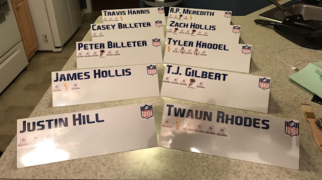 Peter Billeter is an example of a commissioner going the extra mile by providing Draft Day nameplates for his league. (Photo courtesy of Peter Billeter )